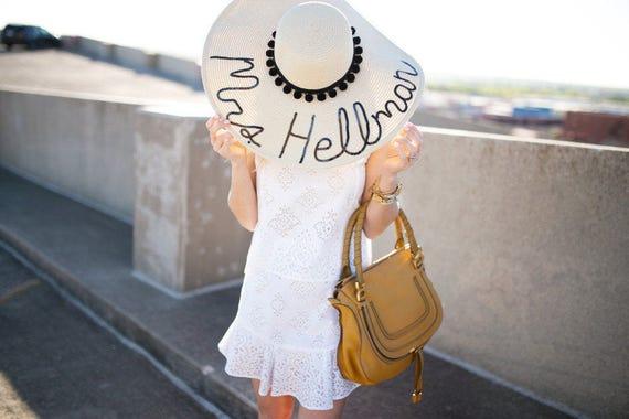 02e0babc268ecf Custom Women's Pom Pom Floppy Sun Hat | Etsy