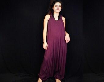 61da0b13507c Plum Purple Harem Dungarees Boho Jumpsuit Unisex Aladdin Onesie Baggy  Playsuit Men s Women s