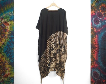 Long Summer Poncho Half Black and White Boho Beach Cover Up Tunic Summer Holiday Dress Top Festival Kaftan by Bare Canvas