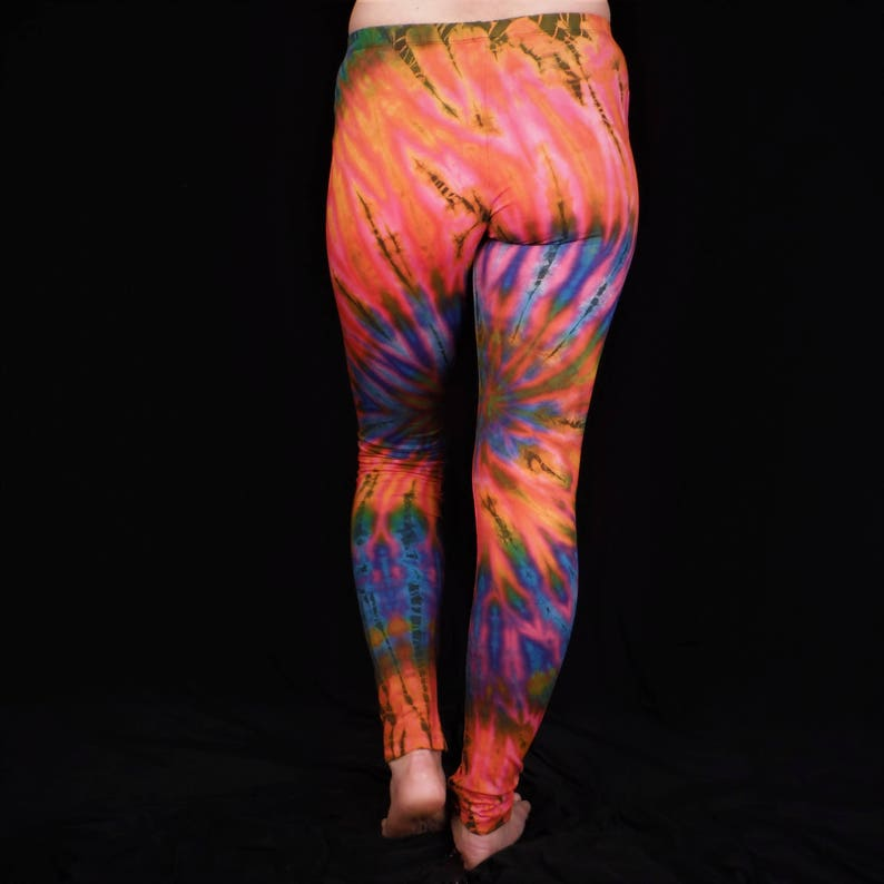 deceb911f8 Hand Tie Dyed Yoga Leggings Electro Pink and Orange   Etsy
