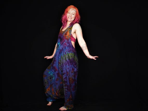 914b8d94deec1 Tie Dye Dungarees Harem Bottom Deep Blue Rainbow Festival Jumpsuit Romper  Onesie Hippy Overalls Baggy Comfy Unisex