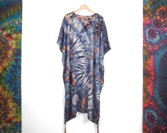 Long Summer Poncho White Blue and Orange Rainbow Tie Dye Boho Beach Cover Up Tunic Summer Holiday Dress Top Festival Kaftan by Bare Canvas