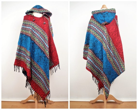 Kapuze Boho Poncho warme weiche Decke Fleece Stoff blau und | Etsy