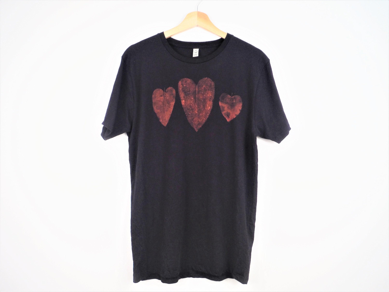 6de29cba2068 Nature Lover Leaf Print Heart T-Shirt Navy Blue 100% Organic | Etsy