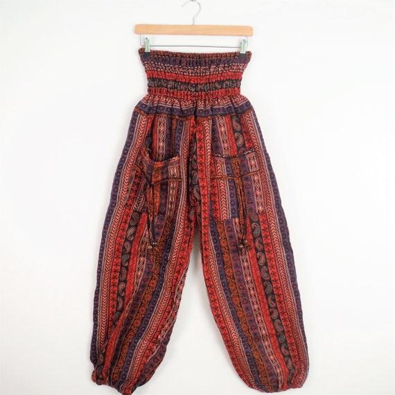 Paisley polaire Stripe pantalon rouge couverture tissu élastique à confortable la taille confortable à Aladdin pantalons dames, femmes hommes e90e6b
