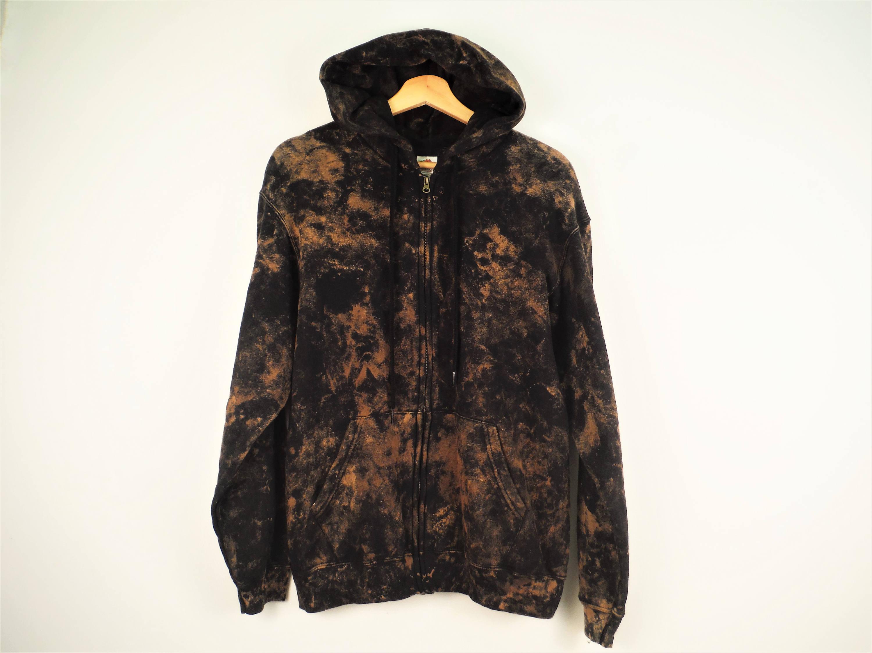 Schwarze Bleichmittel Zip Hoodie handgefärbt gefärbt