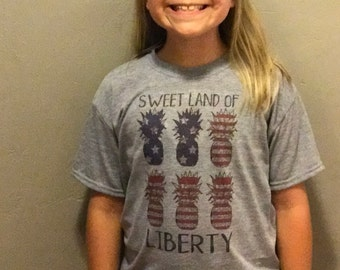 Pineapple flag sweet land of liberty 4th of July patriotic shirt