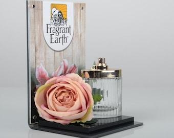 Perfume Bottle Display Plinth   |   Acrylic Bottle Display   |   Advertising Back Panel   |   Premium Gold Acrylic | Made in the UK