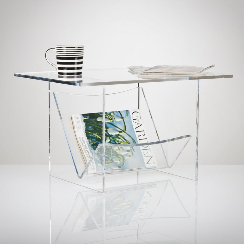 Perspex Acrylic Coffee Table with Magazine Rack - Glass Effect Acrylic |  Premium acrylic | Made in the UK