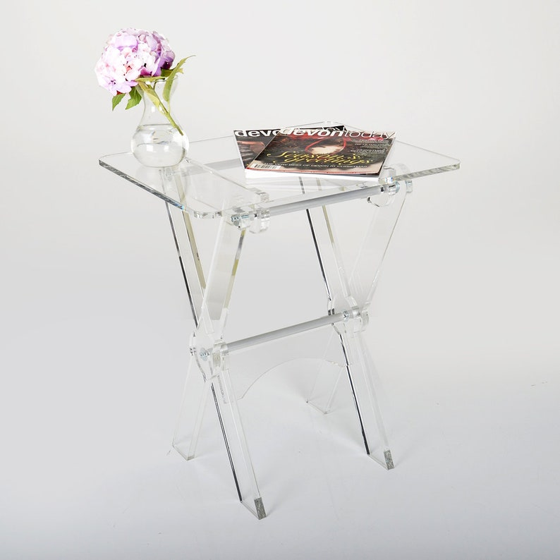 Acrylic Folding Coffee Table | Space Saving Side Table | Perspex Portable  Coffee Table | Premium Perspex Acrylic | Manufactured in the UK
