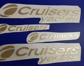 """Pair Carver Yachts Vintage Gold Decal 12/"""" Stickers"""