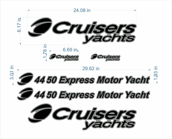 """FREE FAST delivery DHL exp Cruisers yachts boat emblem 24/"""" chrome black 4450"""