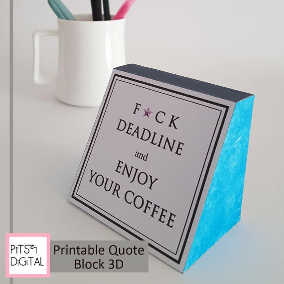 Genial Coffee Printable, Quote Blocks, 3D Digital Paper, Cute Office Gifts,  Cubicle Decor, Motivation Words, Gift For Writers, Blue Desk Accessory