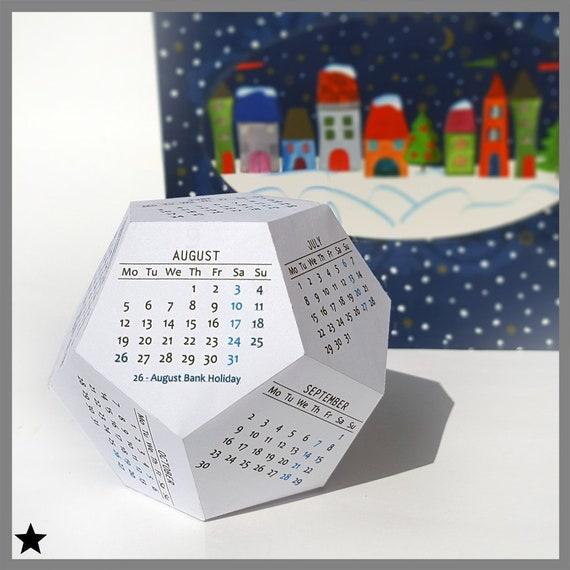 Printable Calendar 2019 Dodecahedron Desk Calendar 3d Etsy