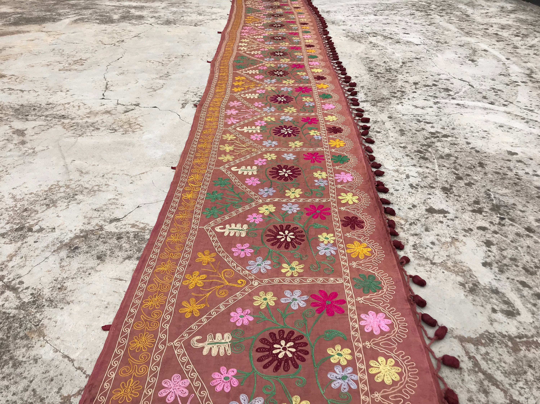 1.9x17.8 FEET Boho Suzani TABLE Runner, Handmade Suzani With Tassel, Wall Decor, Long Boho Wall Hanging, OVERSIZED Suzani, Large Runner