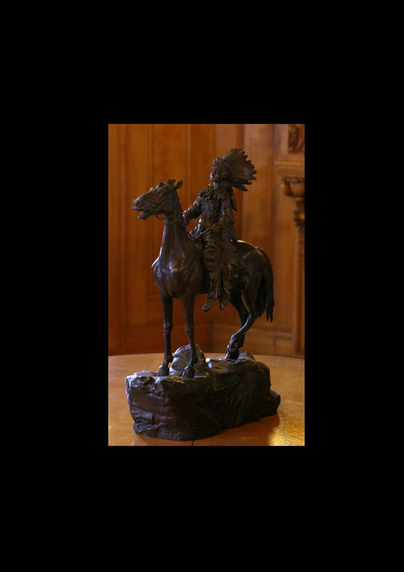 Karl Kauba Bronze Indian on Horseback Statue image 0