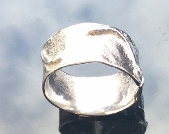 Everyday ring. Textured, fused, sterling silver ring.