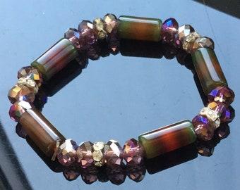 Very striking, recycled, 1960's bead bracelet. Aesthetic bracelet.