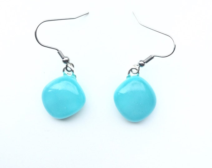 Lovely, turquoise, fused glass, quirky earrings. Summery, different and quirky earrings.