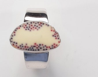 Recycled, Sterling silver and resin statement ring. UK size N.