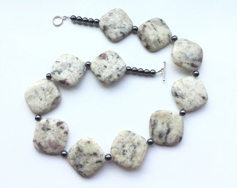 Unique, and quirky sesame jasper and hematite necklace. Stunning and succulent necklace