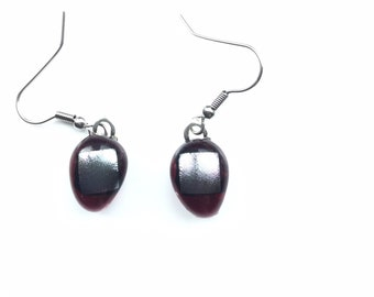 Vibrant, raspberry and silver, dichroic glass, aesthetic earrings. The uncommon colour way makes these quite quirky earrings.