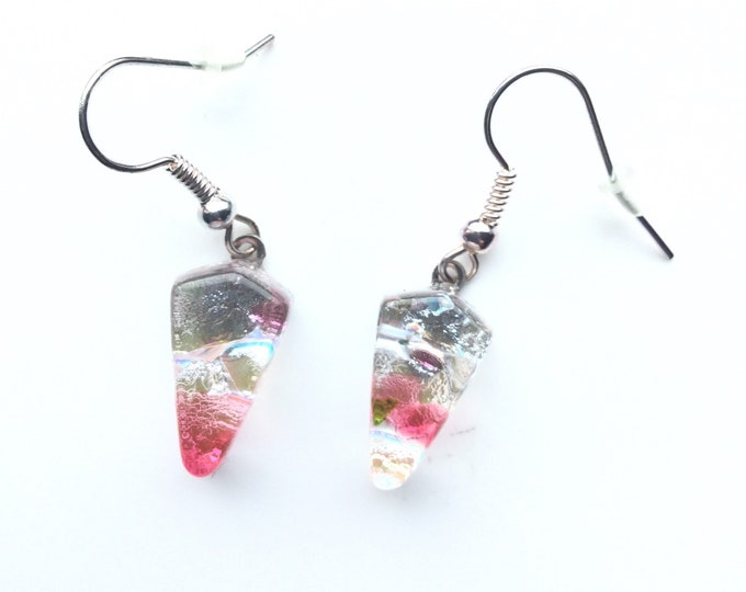 Pretty, cherry blossom, quirky earrings. Kite shape makes these different earrings.