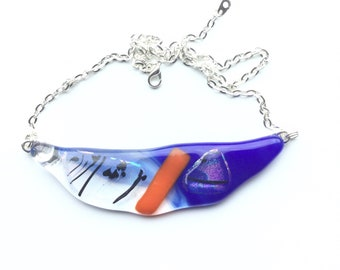 Quirky necklace, modern glass art! This blue, orange and rainbow festoon necklace, is truly a succulent necklace!
