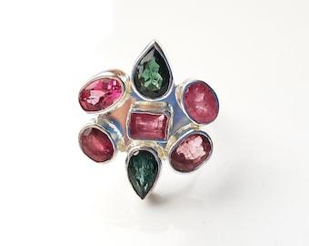 Pink and green tourmaline, multistone ring. Size O (UK)