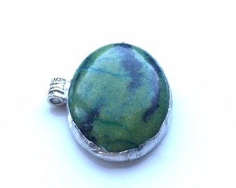 Very different necklace. New technique! Green jasper pendant, makes an aesthetic, succulent necklace.