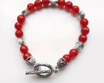 Red jade and Tibetan silver , Boho style, beaded bracelet