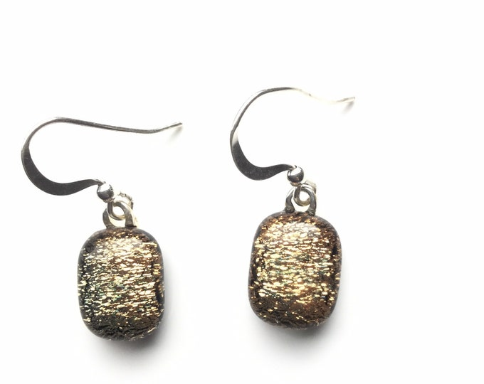 Gorgeous, gold, dichroic glass, succulent earrings. Colour shifting, simple but different earrings!