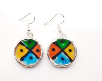 Bright, funky, quarters, round earrings. Unique and hand painted in Hertfordshire