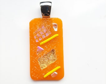 Bold, Tack fused, Bright Orange, Yellow and Pink, Dichroic Glass Pendant