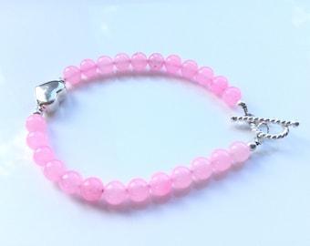 Pretty, pink jade, heart bracelet. Aesthetic and romantic bracelet.