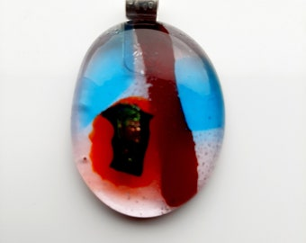Large, modernist, fused glass pendant. Makes for a succulent necklace.