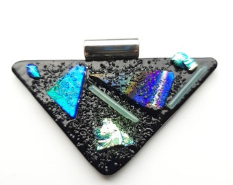 Black and blues, tack fused, dichroic glass pendant. Bold and triangular pendant.