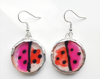 Pink and red, funky ladybird, hand painted, round drop earrings set using Tiffany method