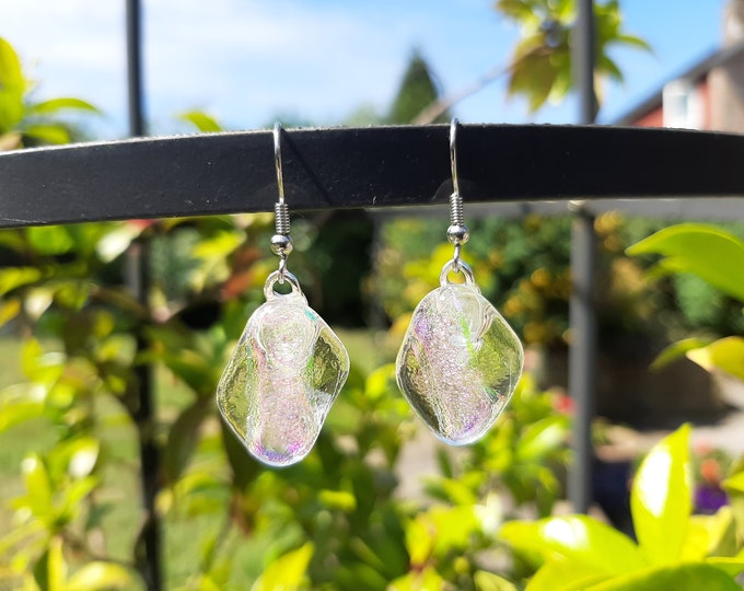 Pretty, clear glass and rainbow dichroic earrings. Quirky earrings with a mystical look to them.
