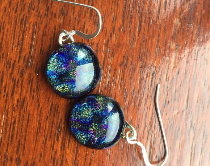 Subtle, tapestry, dichroic, different earrings. Beautiful, muted shades for truly succulent earrings.