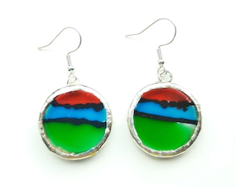 Green , blue and read, round , hand painted earrings. Set with Tiffany method.