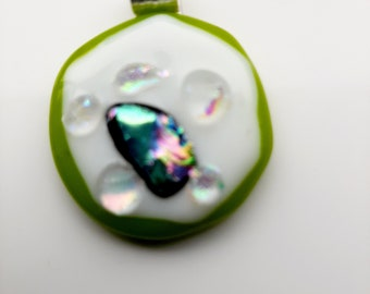 Very quirky, lime green and white, fused glass pendant. Makes for a succulent necklace