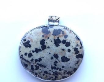 Quirky Pendant, Dalmatian jasper, tumblestone pendant. Will make a aesthetic and  succulent necklace.