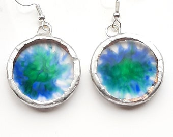 Blue and green, floral or splash, hand painted, acrylic earrings set using Tiffany method