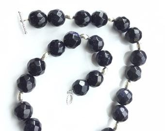 Stunning, blue goldstone hexagonal bead necklace. Succulent necklace