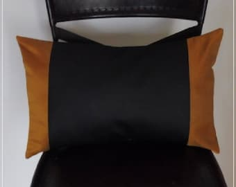 Black faux leather and stripes in golden yellow taffeta cushion