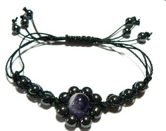 Handmade Gemstone Macrame Flower Bracelet. Hematite And Any Central Gemstone And Colour Thread.