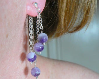 Sterling Silver Front And Back Earrings. Post And Butterfly. Four chain Dangle. Gemstones Amethyst Or Your Choice.