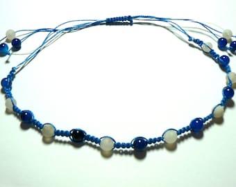 Handmade Gemstone Macrame Necklace Choker Headband Any Gemstone And Colour Thread.