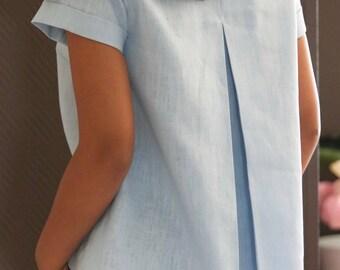 Oversize Linen Blouse/ Baby Blue Linen Blouse/ Linen Top Boatneck/ Short Sleeves Linen Blouse/ Vintage/ Pastel Blue